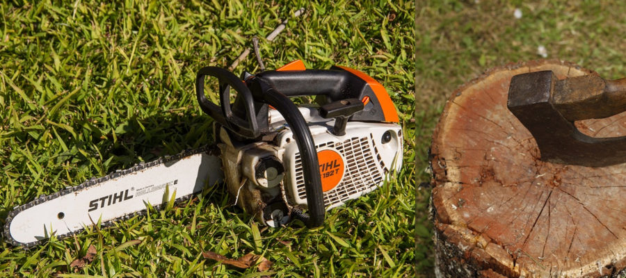 Stock Images of a Chainsaw and an Axe