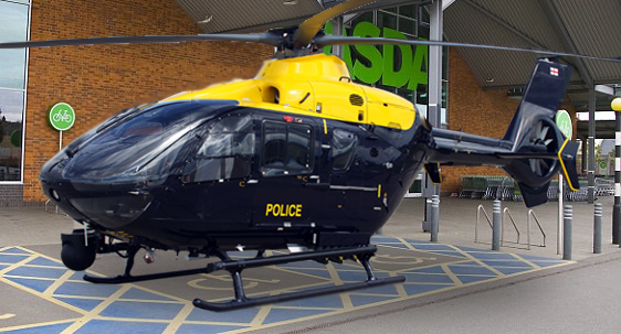Police Helicopter in Disabled Parking Bay Down The Asdas