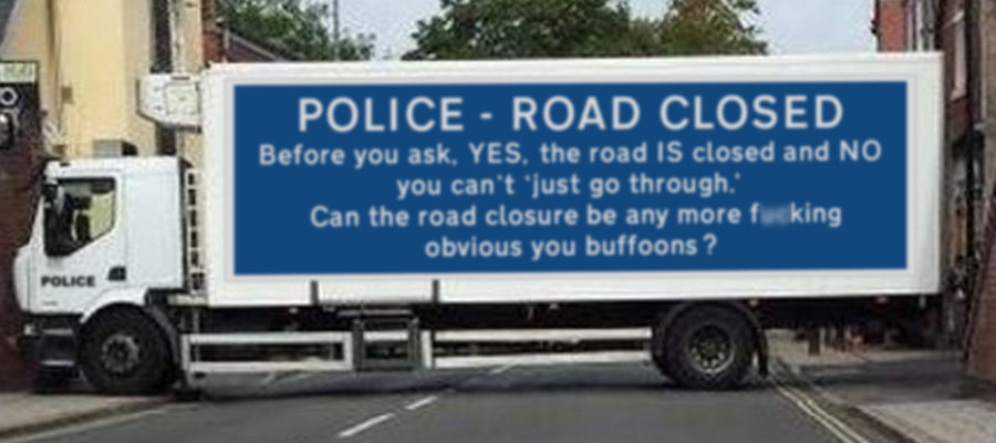 Police Lorry Closing Road